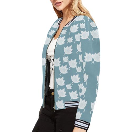 leaves on color ornate All Over Print Bomber Jacket for Women (Model H21)