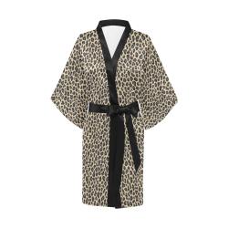 Authentic Safari Snow Leopard Skin Satin Kimono Robe