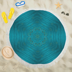 "spiritual sun is raising  peace of mind sea Circular Beach Shawl 59""x 59"""