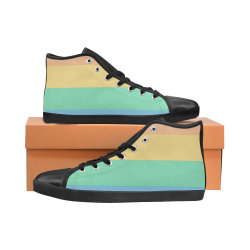 Rainbow black High Top Canvas Women's Shoes/Large Size (Model 002)