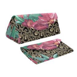 Flowers on Cheetah Print Custom Foldable Glasses Case