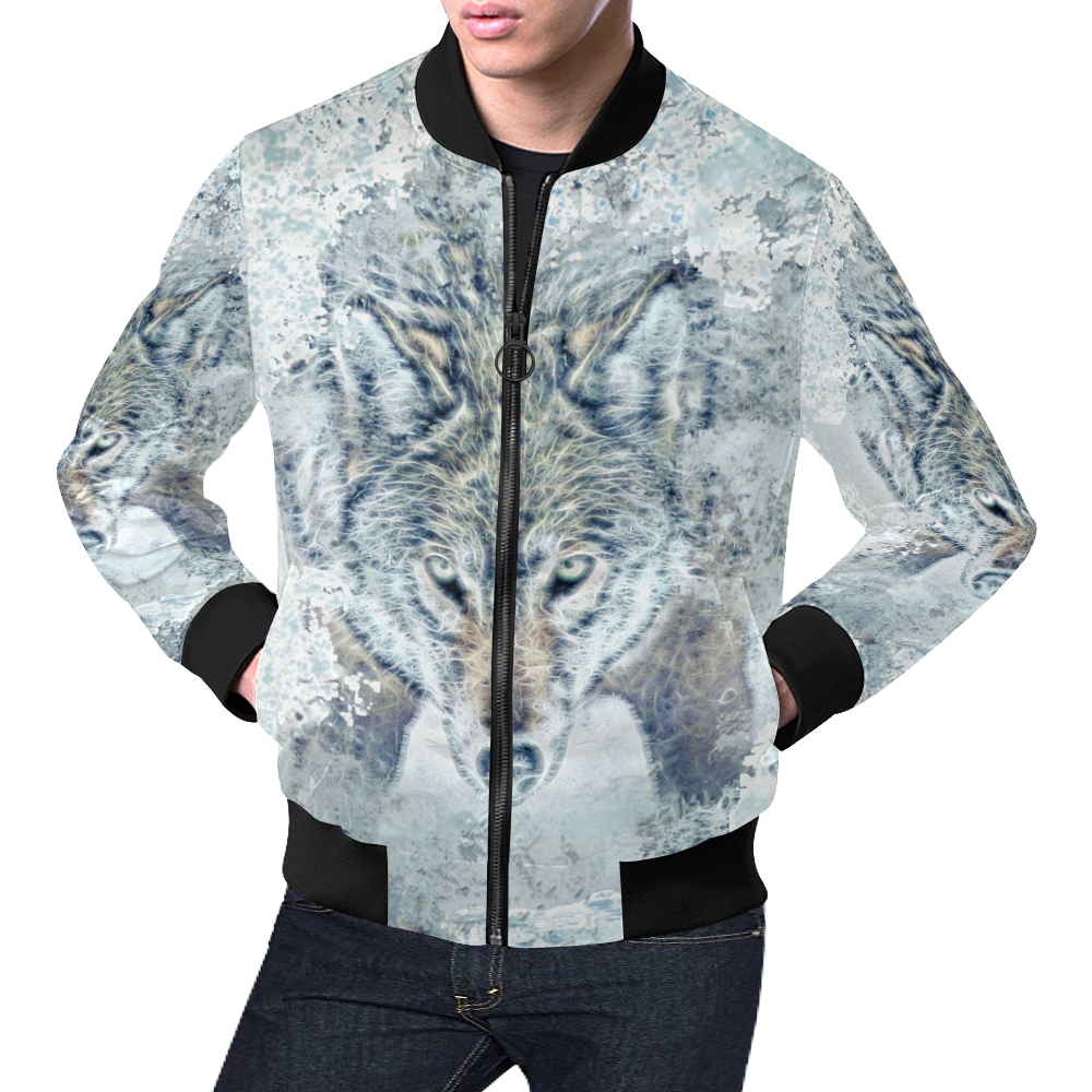 Snow Wolf All Over Print Bomber Jacket for Men (Model H19)