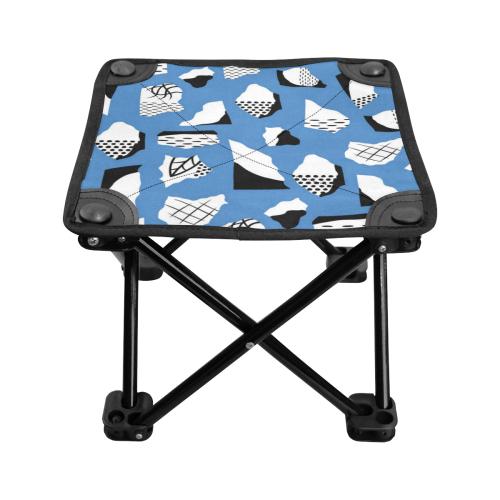 Retro Blue and Black Geometric Abstract Folding Fishing Stool