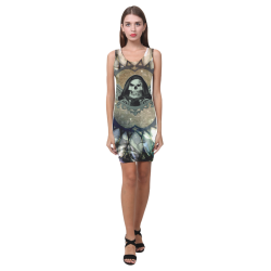 Awesome scary skull Medea Vest Dress (Model D06)
