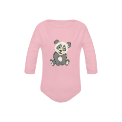 Smiling Panda Pink Baby Powder Organic Long Sleeve One Piece (Model T27)