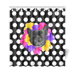 """Frenchie Dots Shower Curtain 69""""x72"""""""