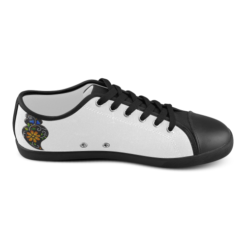 Black and color Heart Women's Canvas Shoes (Model 016)