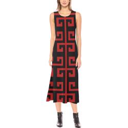Classic Red Phaedra Sleeveless Open Fork Long Dress (Model D08)