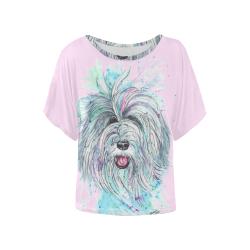Breezy pink Women's Batwing-Sleeved Blouse T shirt (Model T44)