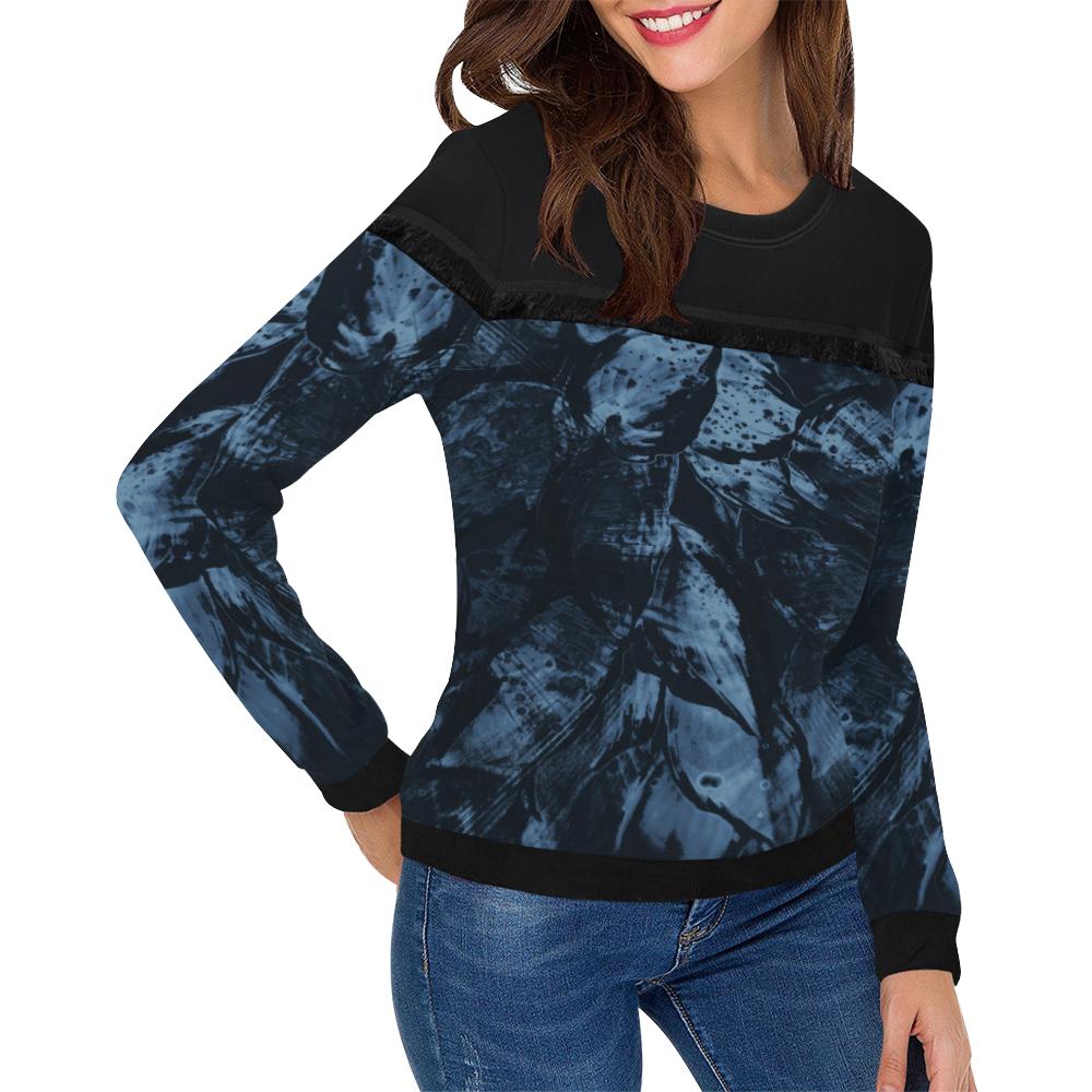 wheelVibe_8500 8 DARKEST BLUE low Women's Fringe Detail Sweatshirt (Model H28)