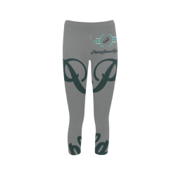 Grey Black & Aqua Print Leggings Capri Legging (Model L02)
