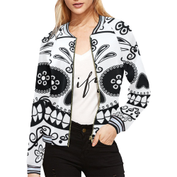 Sugar Skull All Over Print Bomber Jacket for Women (Model H21)