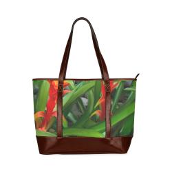 Leather flower Tote Handbag (Model 1642)