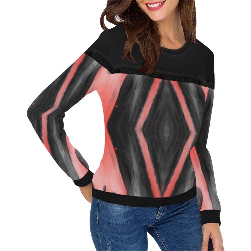 5000xart_5198x6259 3 Women's Fringe Detail Sweatshirt (Model H28)