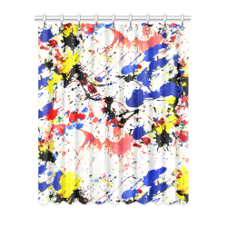 "Blue and Red Paint Splatter Window Curtain 52"" x 63""(One Piece)"