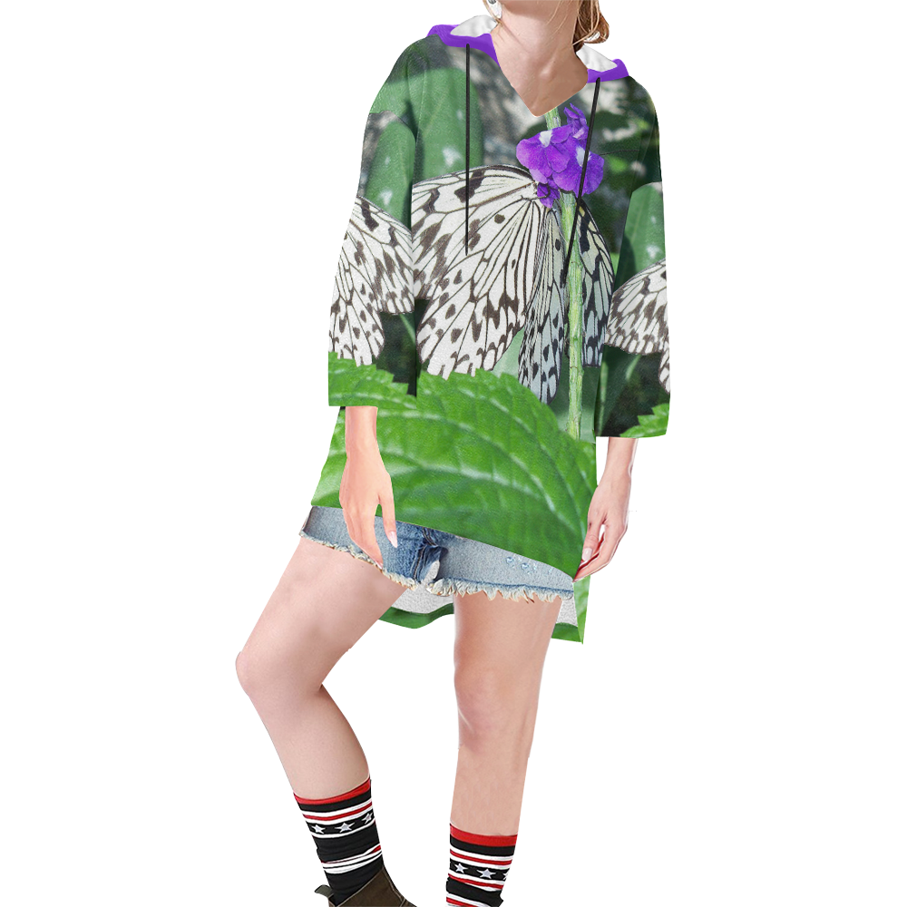 Rice Paper Butterfly Step Hem Tunic Hoodie for Women (Model H25)
