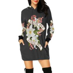 QUEEN BEE All Over Print Hoodie Mini Dress (Model H27)