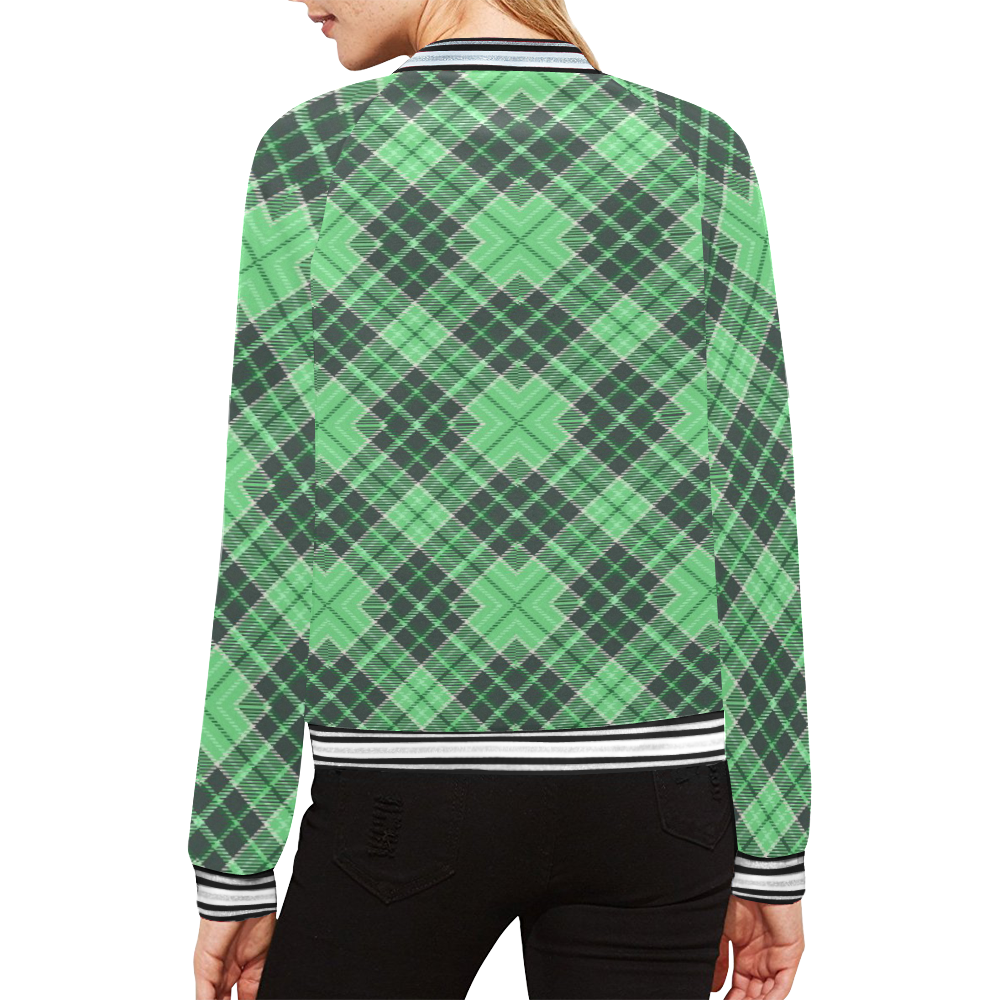 STRIPES LIGHT GREEN All Over Print Bomber Jacket for Women (Model H21)