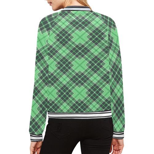 STRIPES LIGHT GREEN All Over Print Bomber Jacket for Women (Model H21)