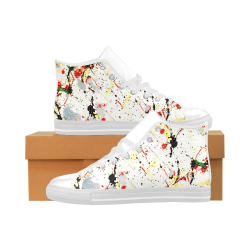 Yellow & Black Paint Splatter - White Aquila High Top Microfiber Leather Women's Shoes (Model 027)