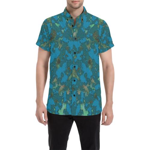 CAMOUFLAGE BLUE Men's All Over Print Short Sleeve Shirt (Model T53)