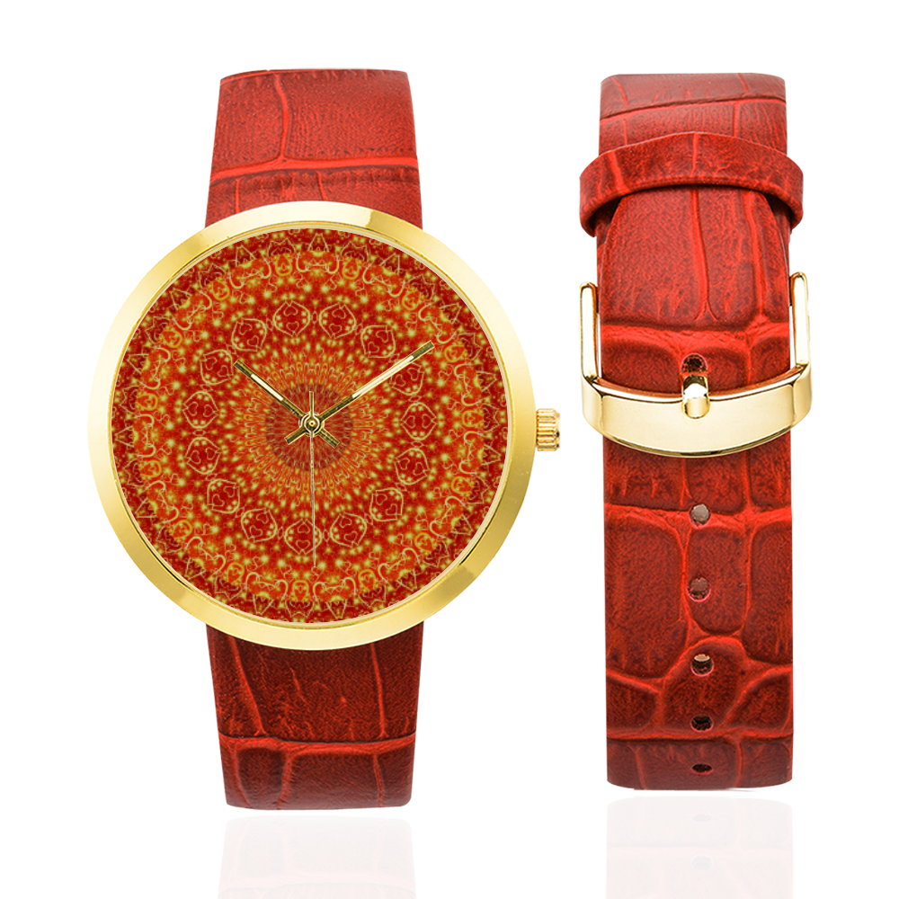 Love and Romance Golden Bohemian Hearts Women's Golden Leather Strap Watch(Model 212)