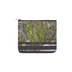 happy frogs drawing by agnes laczo Carry-All Pouch 6''x5''