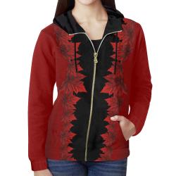 Canada Maple Leaf Women's Zipper Hoodies All Over Print Full Zip Hoodie for Women (Model H14)