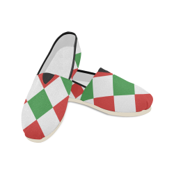 redgreen squares Unisex Casual Shoes (Model 004)