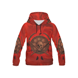 Skulls on red vintage background All Over Print Hoodie for Kid (USA Size) (Model H13)