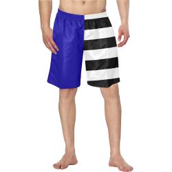 Blue and Stripes Mixed Print Men's Swim Trunk (Model L21)