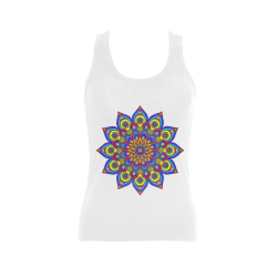 Brilliant Star Mandala White Women's Shoulder-Free Tank Top (Model T35)