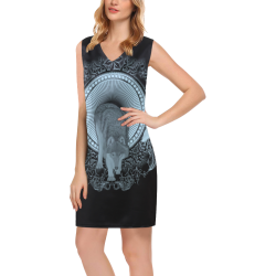 Wolf in black and blue Phoebe Sleeveless V-Neck Dress (Model D09)
