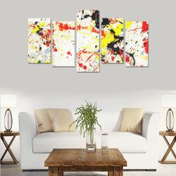 Black, Red, Yellow Paint Splatter Canvas Print Sets E (No Frame)