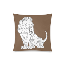 """Color Me Basset Hound Sugar Skull Brown Custom Zippered Pillow Case 20""""x20""""(Twin Sides)"""
