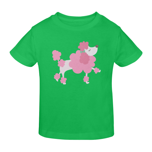Pretty Pink Poodle Green Sunny Youth T-shirt (Model T04)