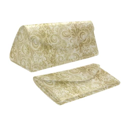 Denim, vintage floral pattern, beige gold yellow Custom Foldable Glasses Case