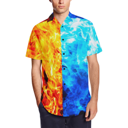 Watchtower Guardians Fire & Ice Occult Satin Dress Shirt Men's Short Sleeve Shirt with Lapel Collar (Model T54)