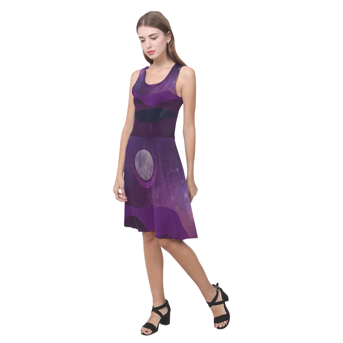 Purple Moon Night Atalanta Casual Sundress(Model D04)