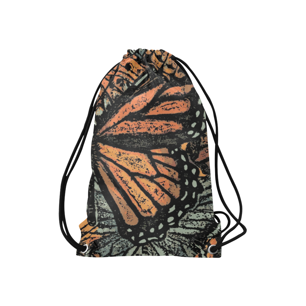 "Monarch Collage Small Drawstring Bag Model 1604 (Twin Sides) 11""(W) * 17.7""(H)"