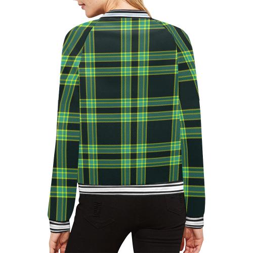 stripes sea green All Over Print Bomber Jacket for Women (Model H21)