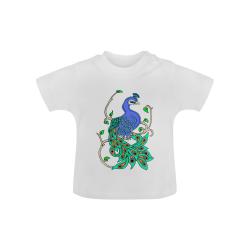 Pretty Peacock White Baby Classic T-Shirt (Model T30)