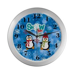 Snow Fun Penguins Silver Color Wall Clock