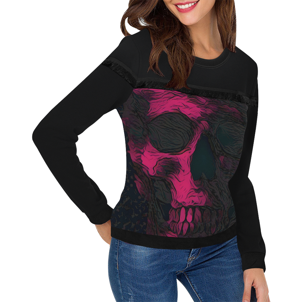 ART SKULL LADYLIKE Women's Fringe Detail Sweatshirt (Model H28)