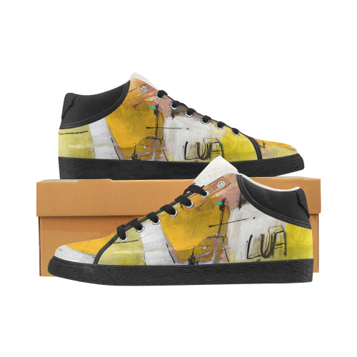 Lua yellow Men's Chukka Canvas Shoes (Model 003)