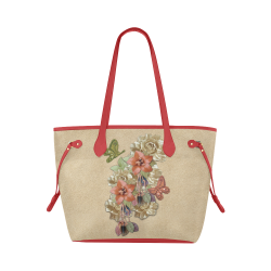 Leather craft flowers Clover Canvas Tote Bag (Model 1661)