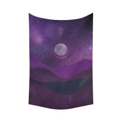 "Purple Moon Night Cotton Linen Wall Tapestry 60""x 90"""