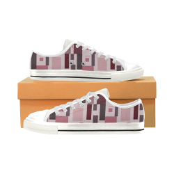 Abstract Burgundy Squares Low Top Canvas Shoes for Kid (Model 018)