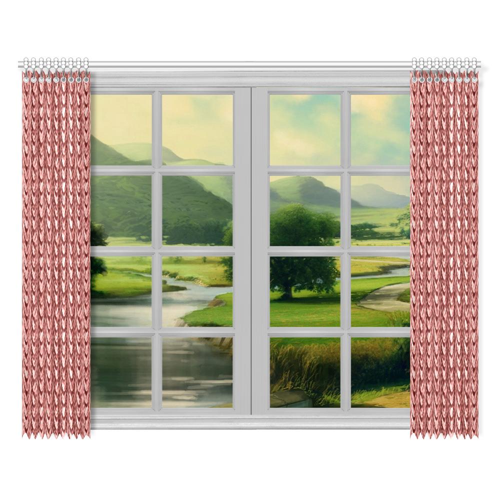 "Burgundy fold waves Window Curtain 52""x84""(Two Pieces)"