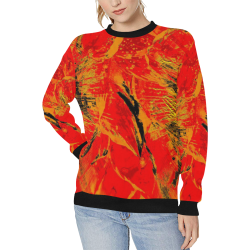 wheelVibe_8500 3 BLOODY GOLD 2 low Women's Rib Cuff Crew Neck Sweatshirt (Model H34)